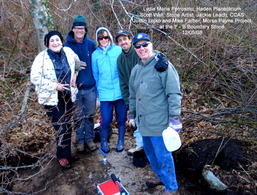 Mike Farber from Chatham first rediscovered the hidden rock boundary marker along with Justin Lojko from Chatham last week is joined by others of interest.