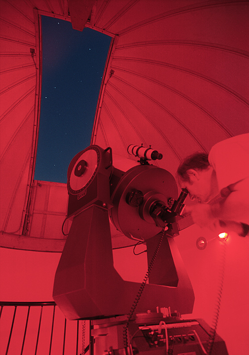 Jim Carlson viewing through the 16 inch Schmidt Cassegrain telescope at the CCAS Observatory